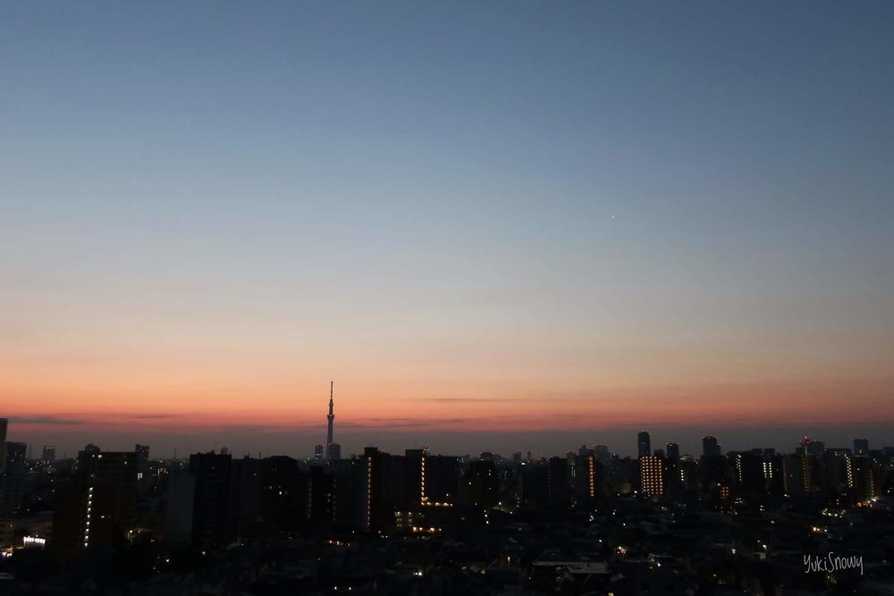 スカイツリーと金星(2019-02-27 05:49)