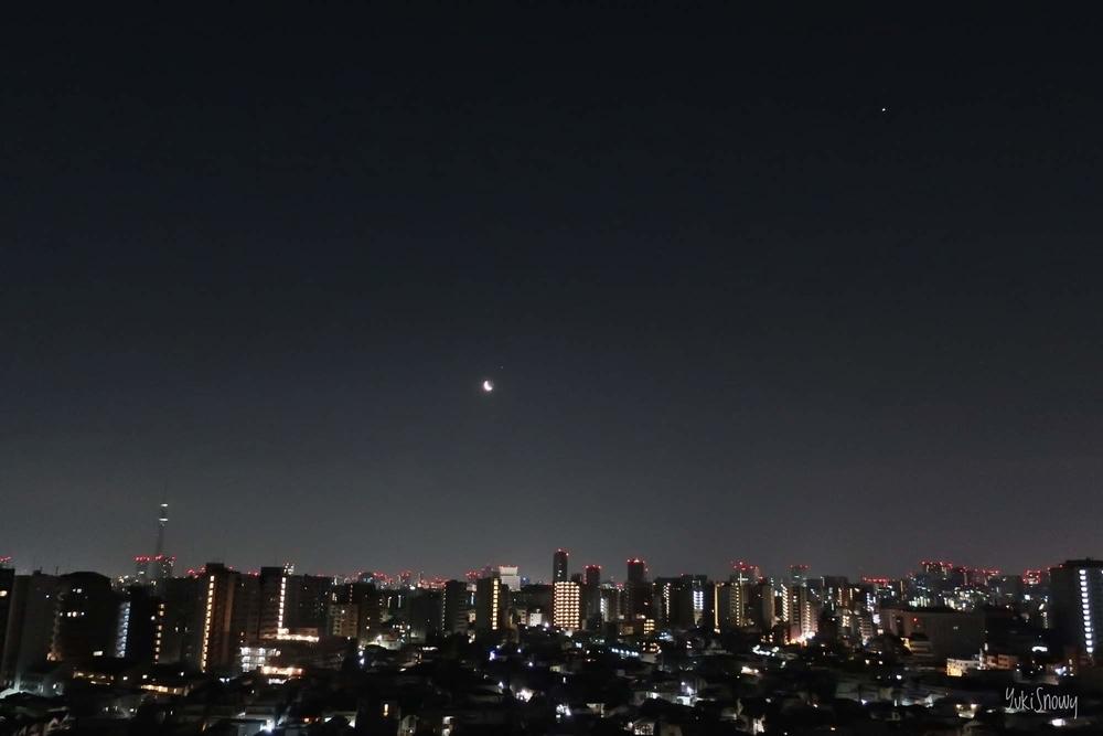 スカイツリーと月と金星(2019-03-02 04:40)