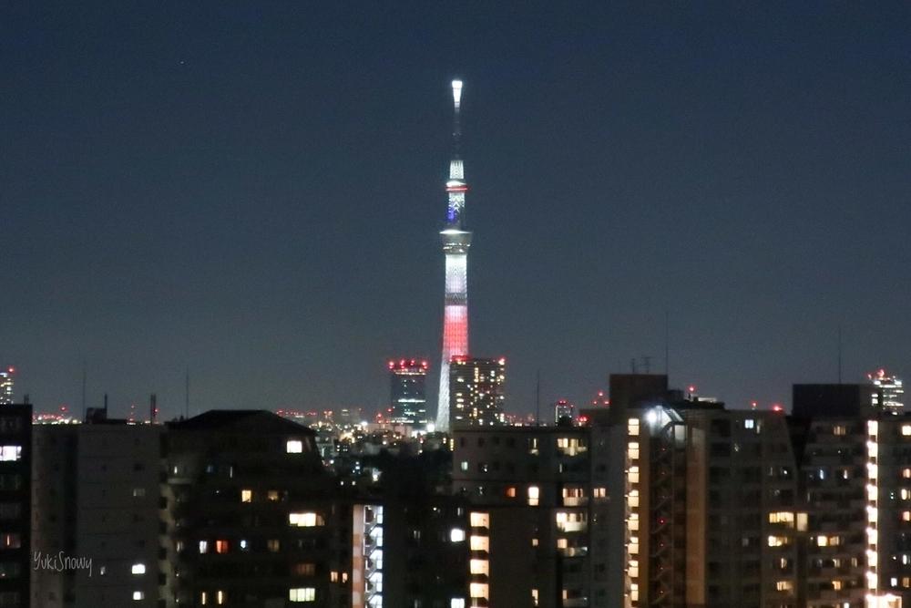 日本国旗をイメージしたスカイツリー(2020-01-01 17:43)