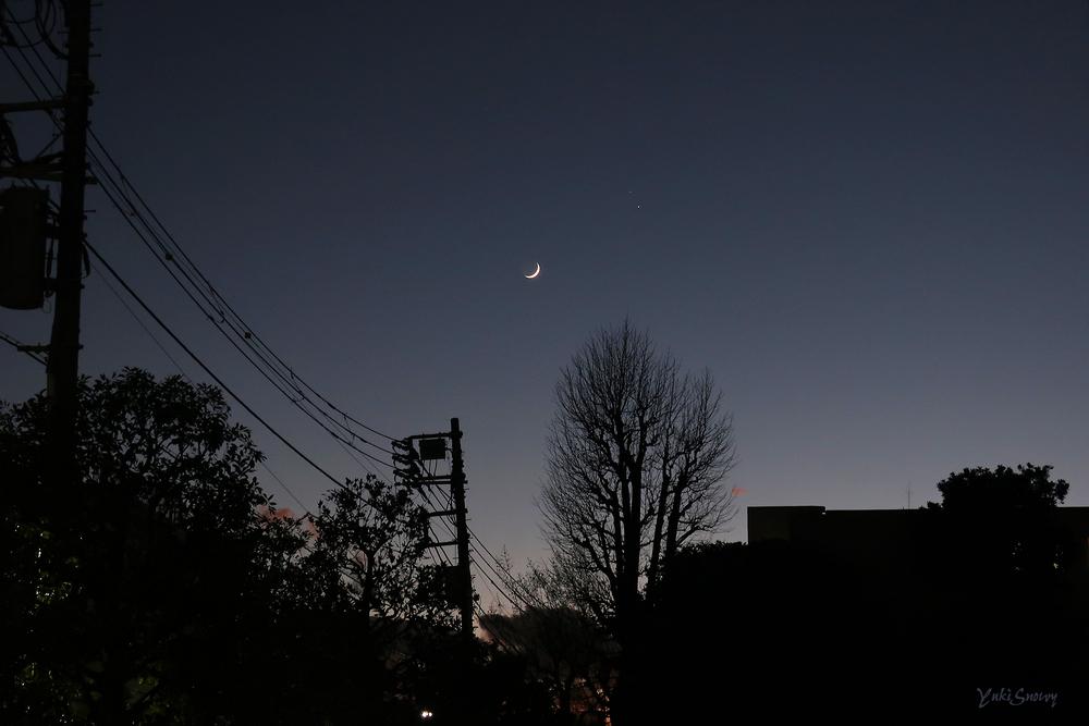 木星と土星と月(2020-12-17 17:03)