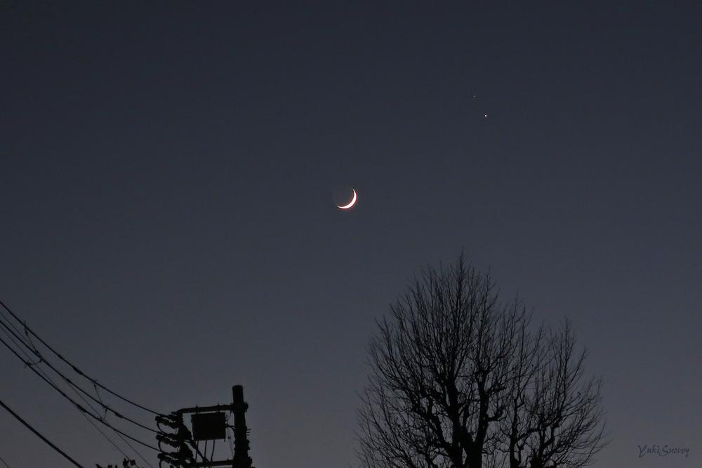 木星と土星と月(2020-12-17 17:04)