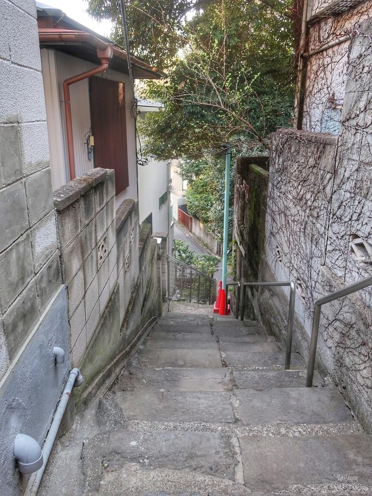 千駄木ふれあいの杜横の階段(2021-03-23)