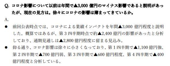 三菱商事決算説明会質疑応答⑥202103-q3