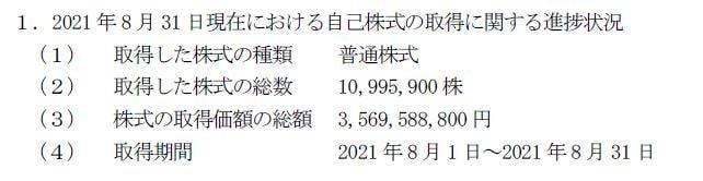 双日自社株買いプレスリリース20210901-2
