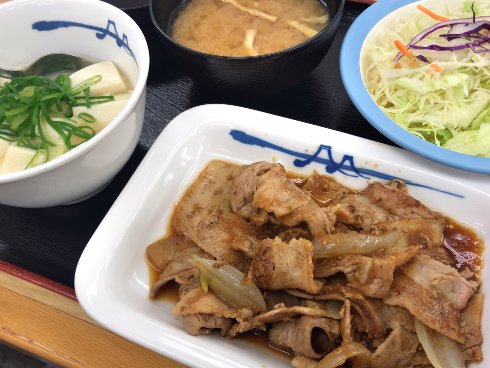 [松屋][豚バラ生姜焼][ラージ定食][さっぱり塩ダレおろし][湯豆腐変更][実食]