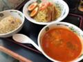 [日高屋][エビ辛とんこつつけ麺][半チャーハンセット][税込み790円][1245kcal]