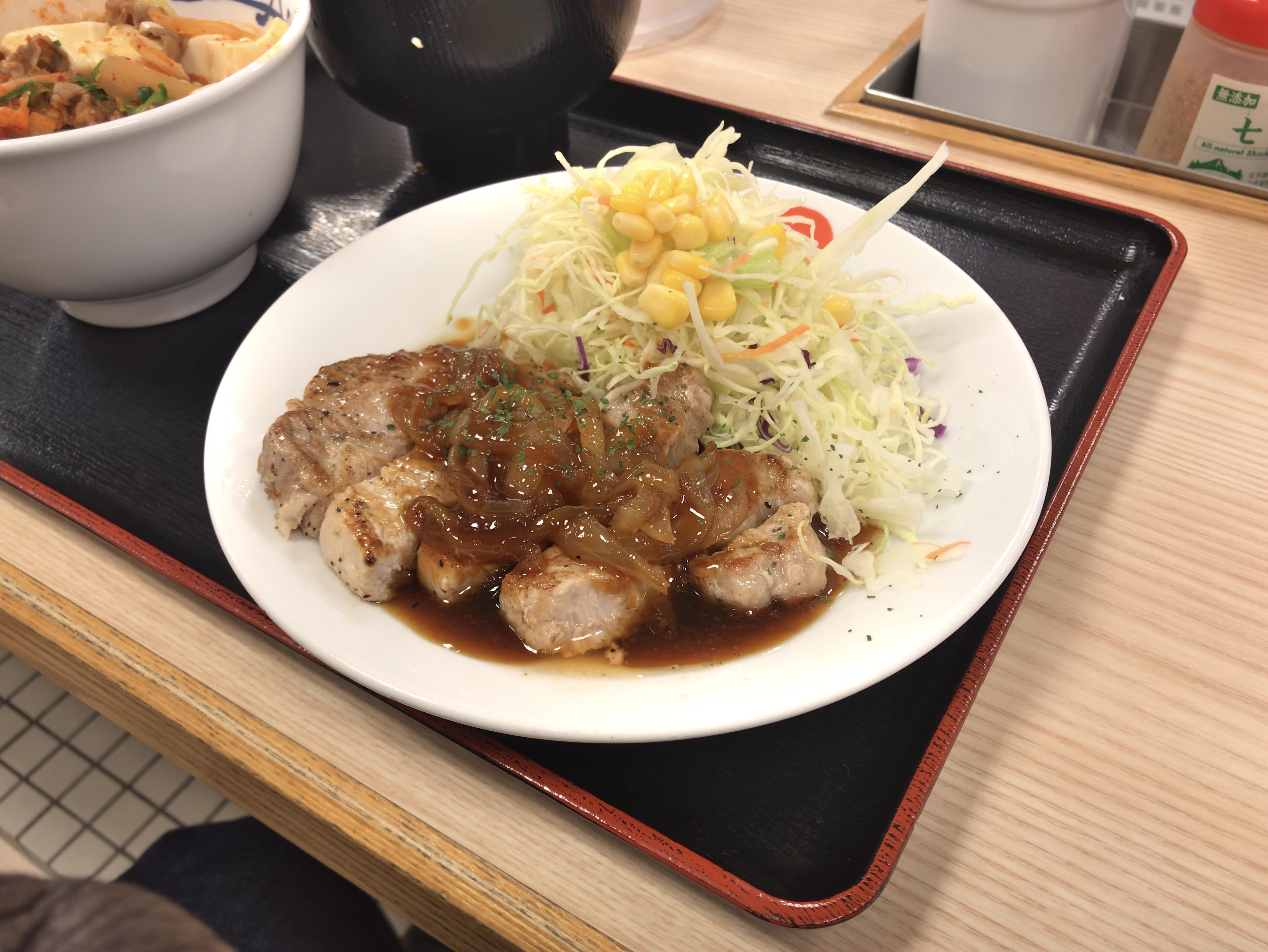 [松屋][厚切りポークステーキ][定食][税込み690円][1004kcal]