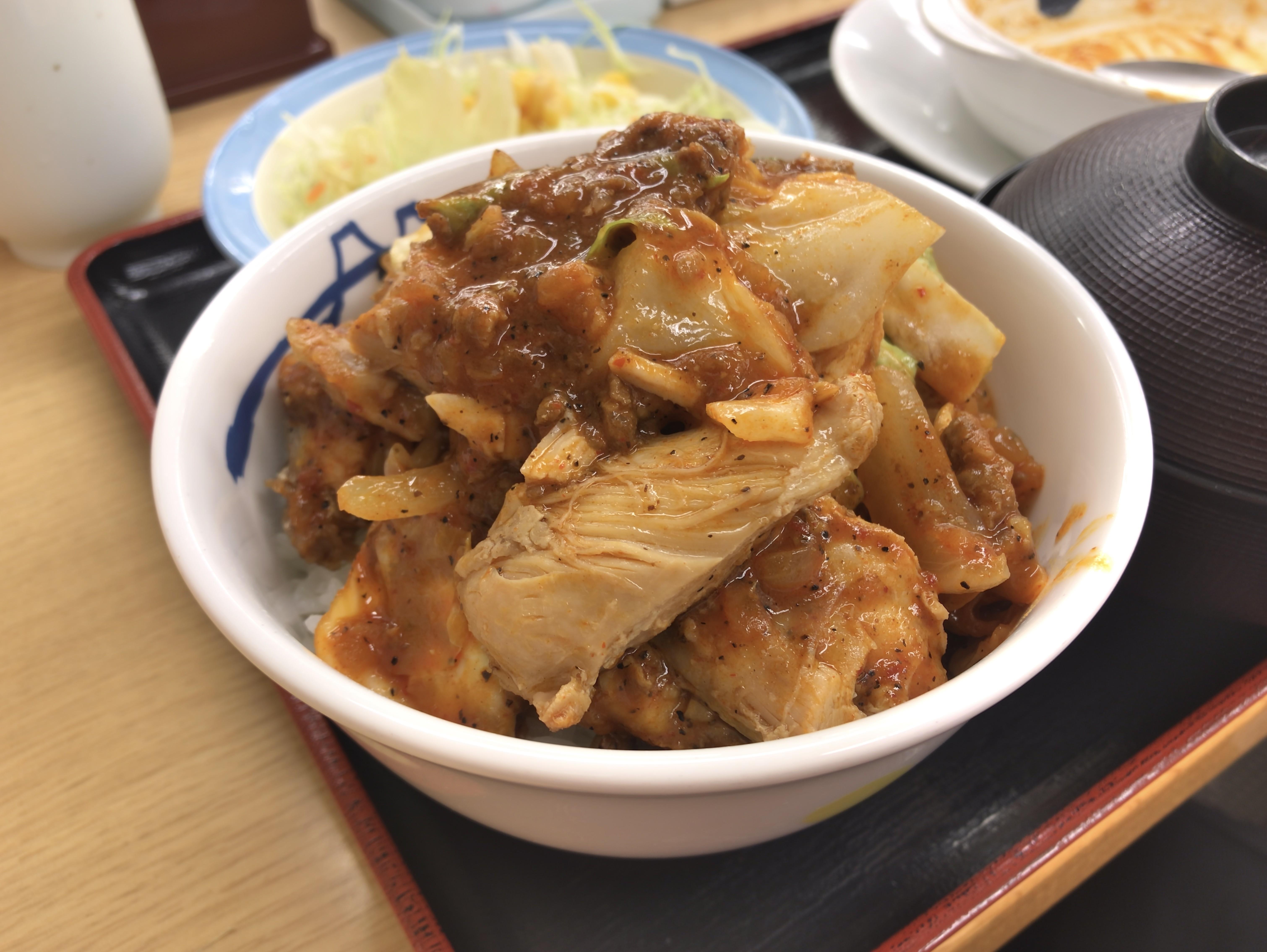 [松屋][ケイジャンチキン定食][丼盛り]