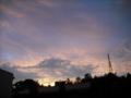 [空][雲][夕方][鉄塔][太陽]夕空