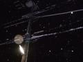 [夜][雪][街灯][電柱][電線]雪と街灯