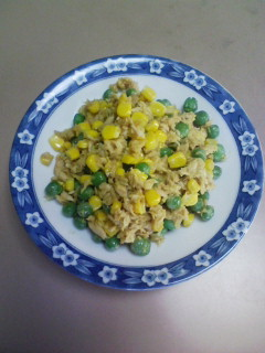 豆コーンツナカレー炒め
