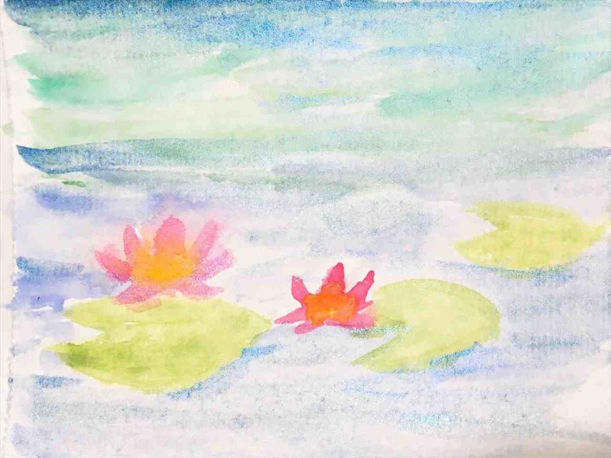 水彩画 (モネ風)睡蓮の池