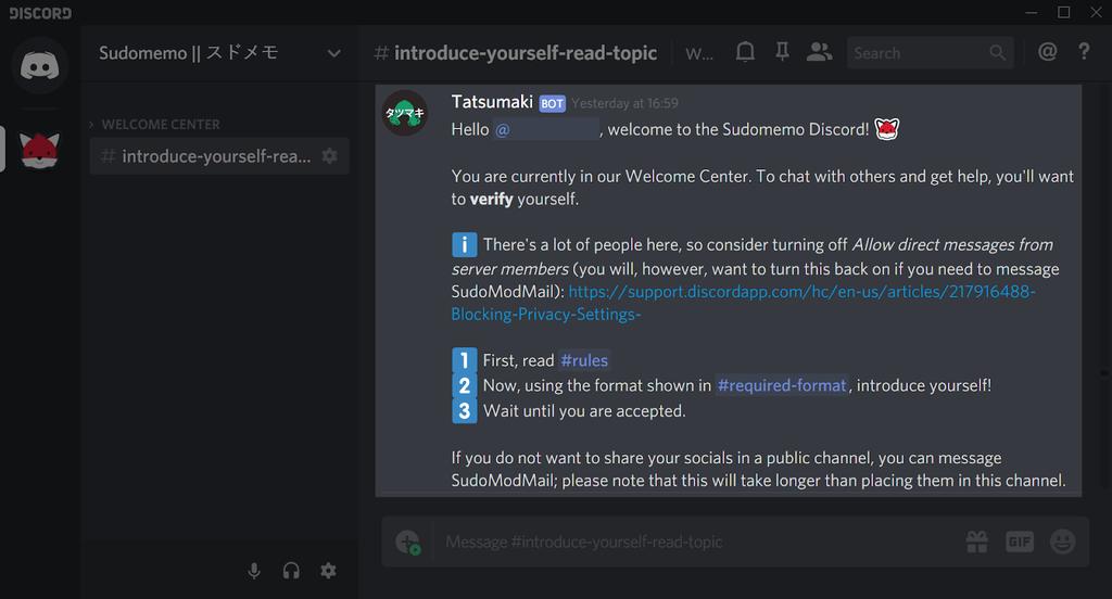 Tatsumaki's message once a user joins Sudomemo's Discord.
