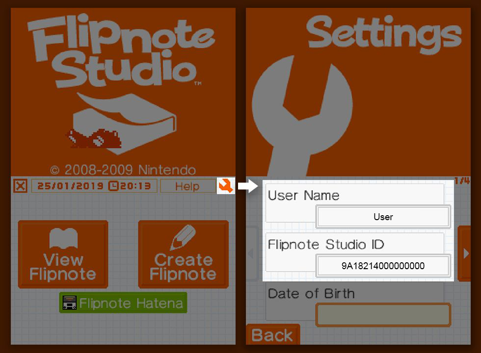 Flipnote Studio's settings interface, showing the DSi's username and their Flipnote Studio ID.