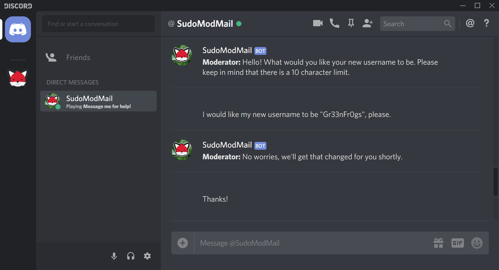 A friendly conversation between a user and SudoModMail regarding a username change.
