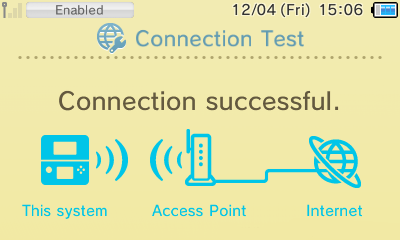A successful connection test on a 2DS / 3DS