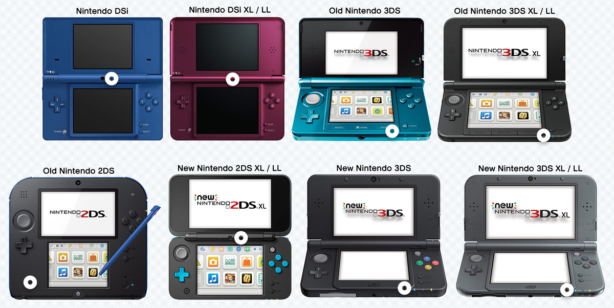 Microphone locations on various Nintendo consoles