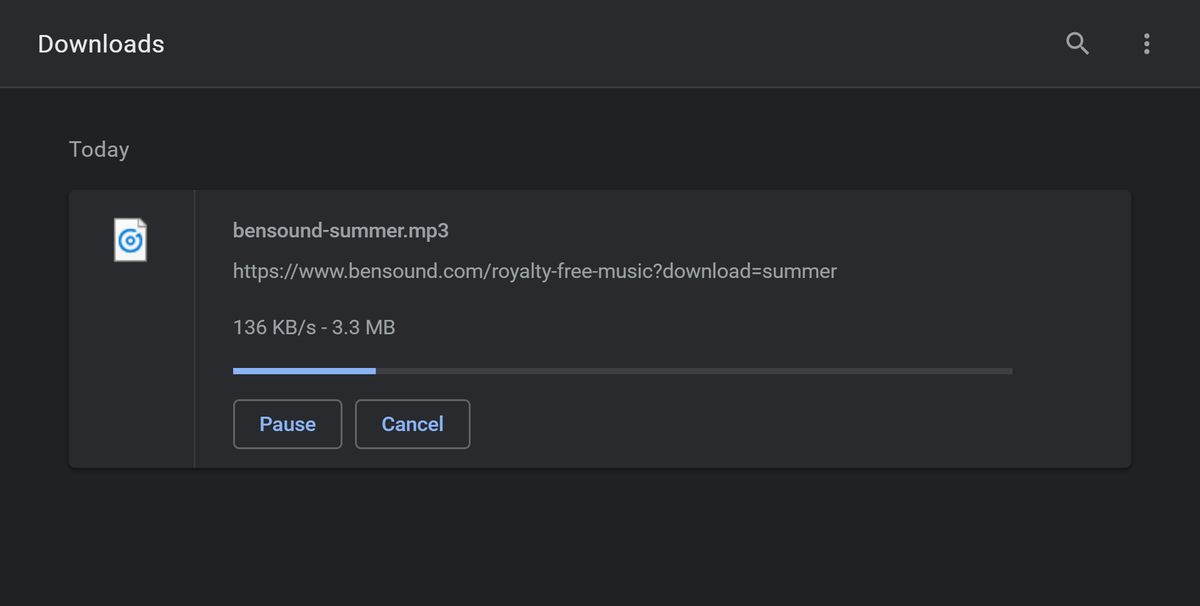 Chrome downloading an audio file