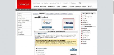 Java SE および NetBeansのダウンロード