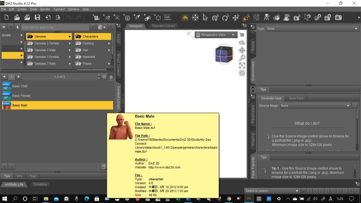 DAZ 作業画面