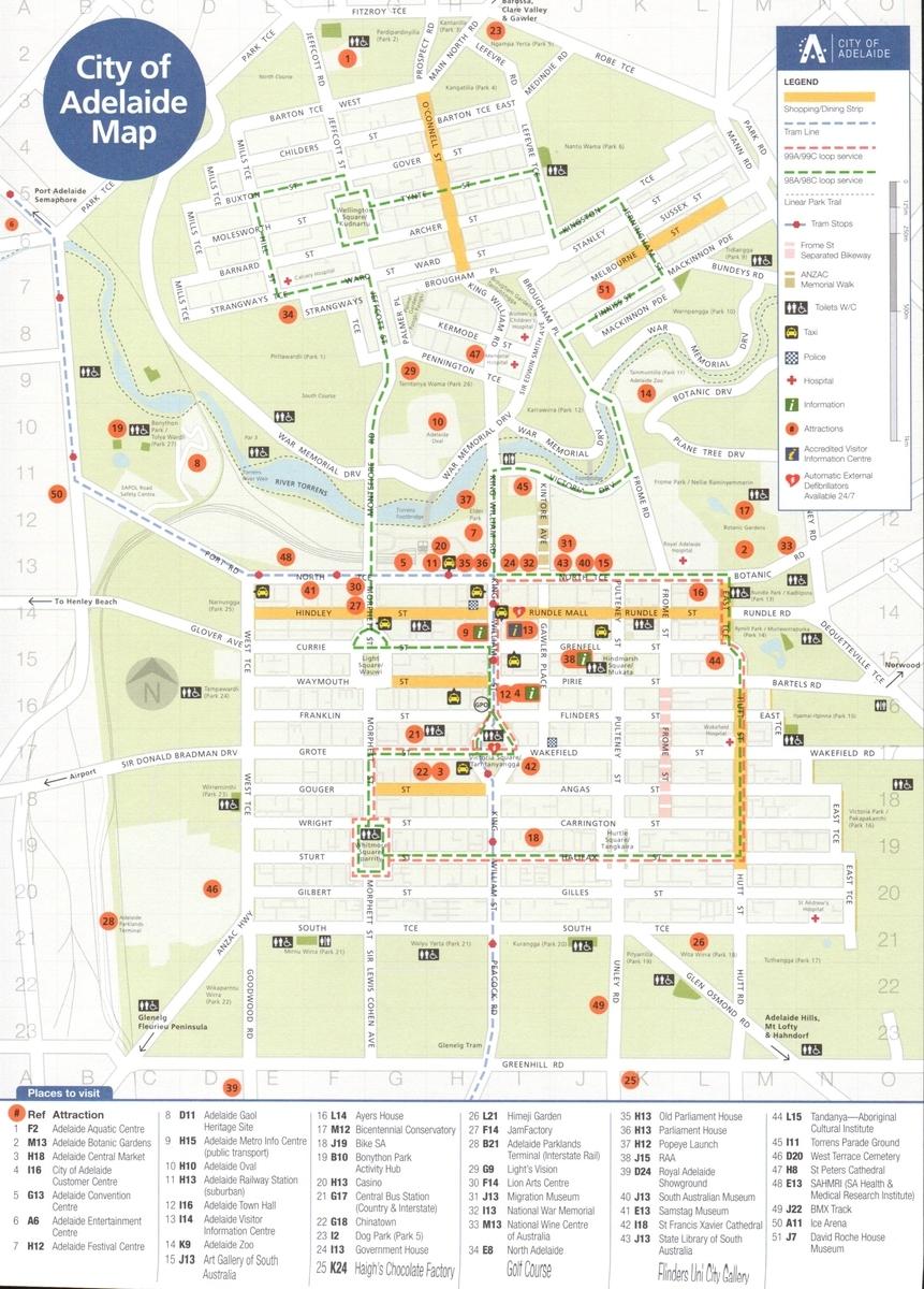 アデレードの中心部の地図