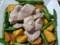黄ズッキーニとアスパラと赤豚肉の塩コショウ炒め