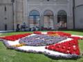 クロアチア国旗が花壇に