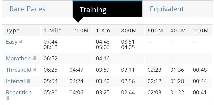 計算結果のトレーニングペース