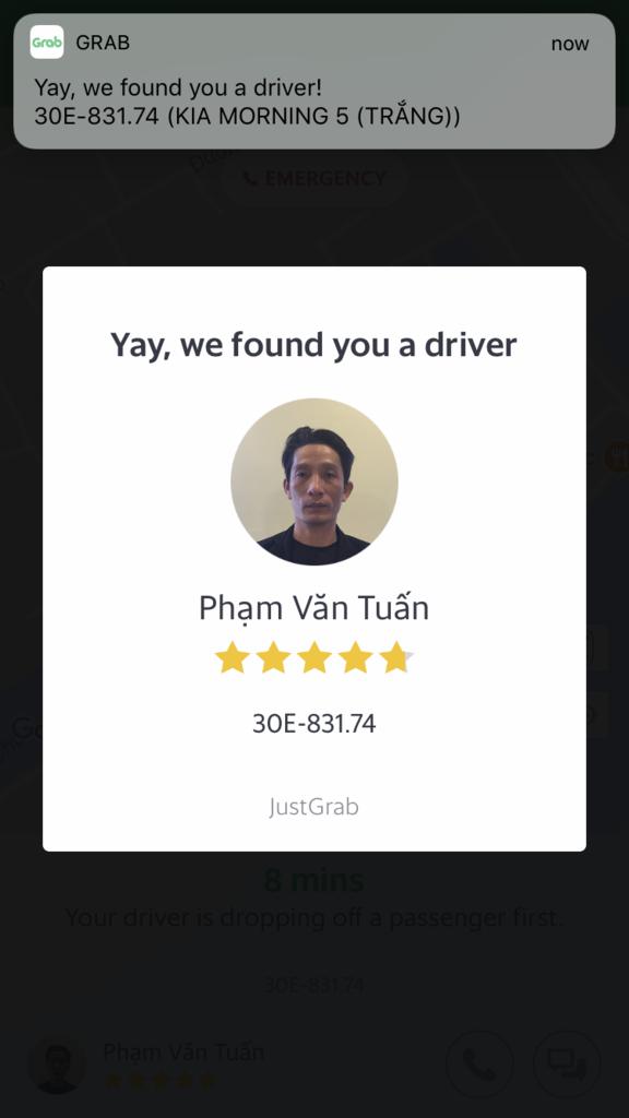 Grabのドライバー確定画面