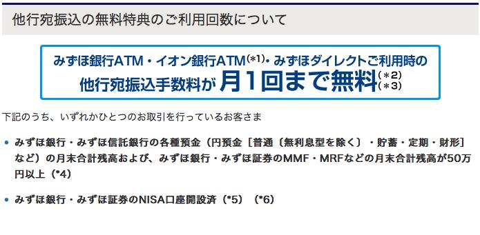 みずほ銀行ATM手数料無料
