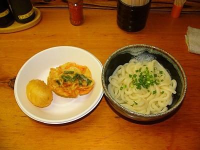「吾里丸」の釜しょうゆと半熟卵天と野菜かき揚げ(2011-09-24)