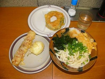 竹清のうどんとちくわ・半熟卵・かぼちゃの天ぷら