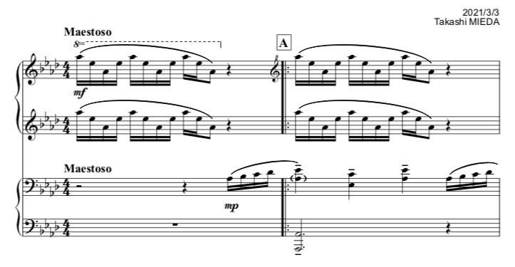 ピアノ連弾「北風」1段目