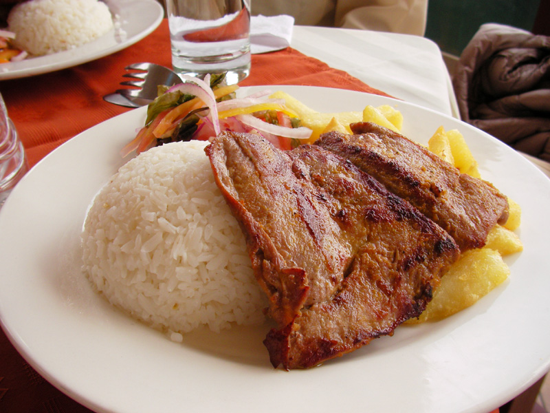 ペルー料理:アルパカのお肉Plancha