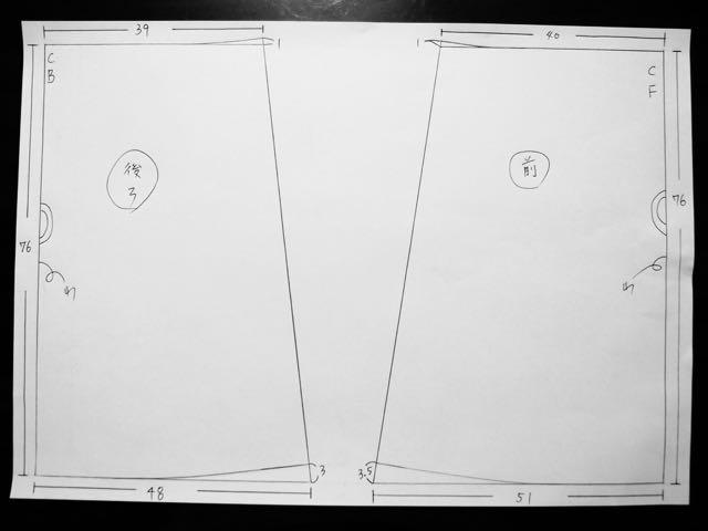 ウエストゴムのスカート型紙