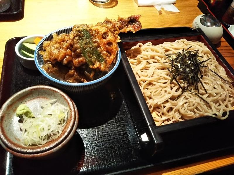 八洲赤沼店ざるそばと天丼(小)セット