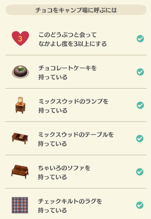 チョコの招待する家具