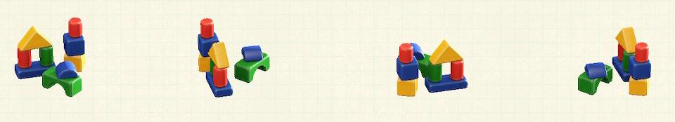 あつ森のつみきのおもちゃのリメイクカラフルパターン