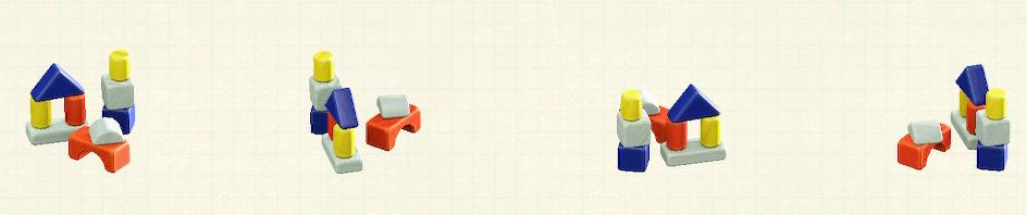あつ森のつみきのおもちゃのリメイクビビッドパターン