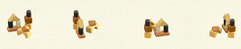 あつ森のつみきのおもちゃのリメイクミックスウッドパターン