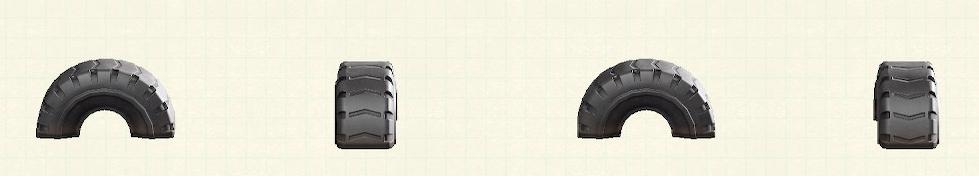 あつ森のタイヤの遊具のリメイクブラックパターン