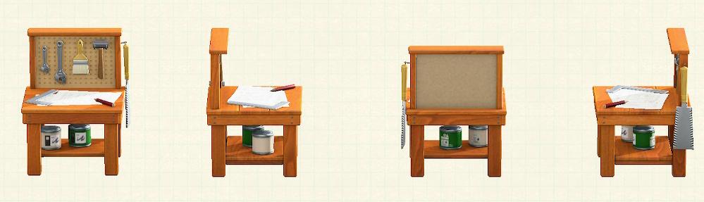 あつ森の小さなDIY作業台のリメイクブラウンパターン