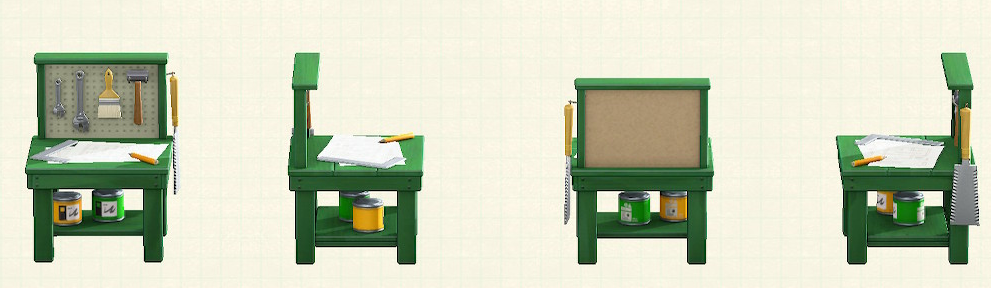 あつ森の小さなDIY作業台のリメイクグリーンパターン