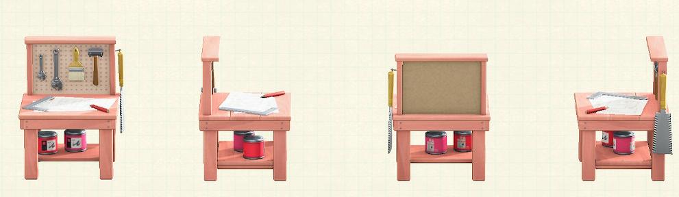 あつ森の小さなDIY作業台のリメイクピンクパターン