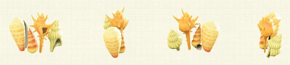 あつ森の貝殻のスクリーンのリメイクイエローパターン