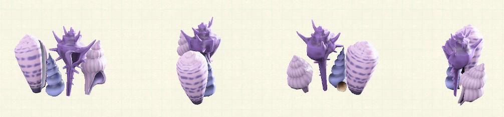 あつ森の貝殻のスクリーンのリメイクパープルパターン