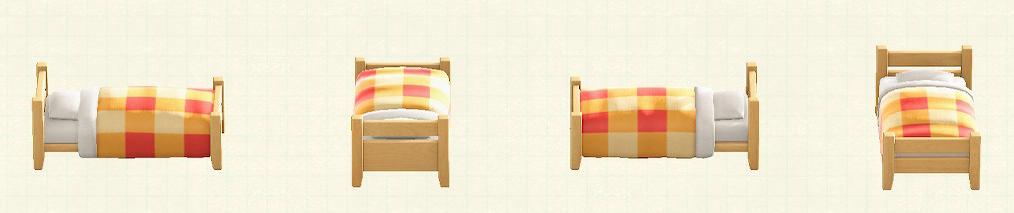 あつ森の木製シングルベッドのリメイクライトウッドパターン