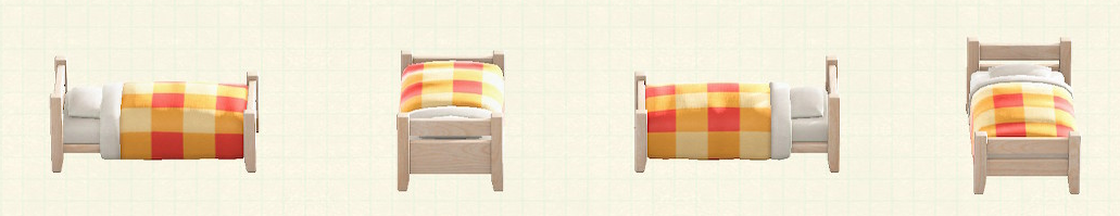 あつ森の木製シングルベッドのリメイクホワイトウッドパターン