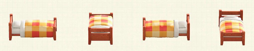 あつ森の木製シングルベッドのリメイクチェリーウッドパターン