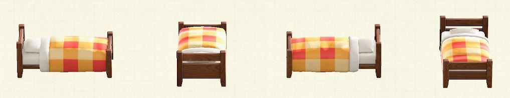 あつ森の木製シングルベッドのリメイクダークウッドパターン